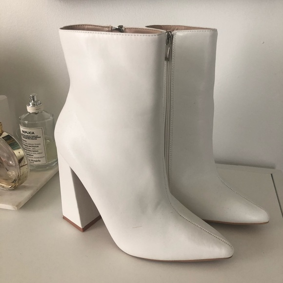 White Ankle Booties Flared Heel Sock
